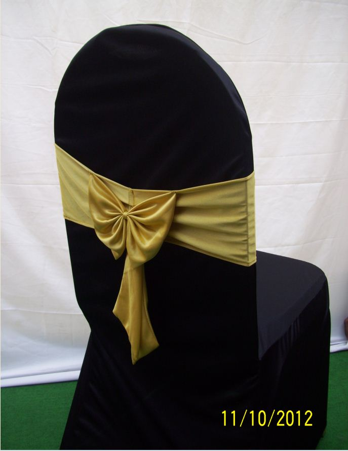 cushion chair - with black cover with gold bow back side view1